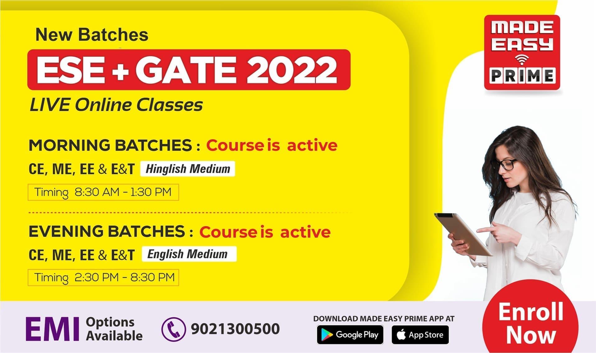 ESE GATE 2022 Live Classes